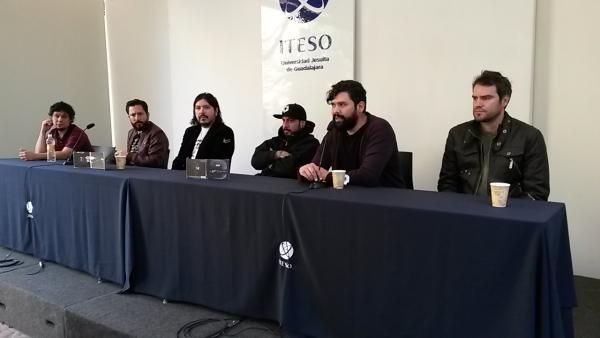 La banda durante la rueda de prensa realizada en Casa ITESO Clavigero.